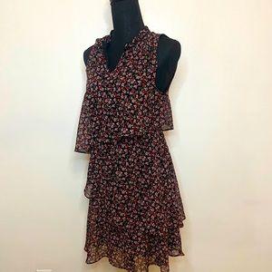 Libby Edelman Dress Floral Ruffles Small